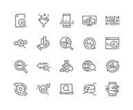 Línea iconos del análisis de datos ilustración del vector