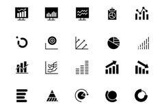 Línea iconos 3 del Analytics de los datos del vector Fotografía de archivo libre de regalías