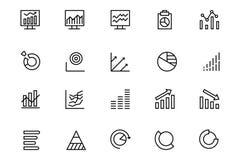 Línea iconos 3 del Analytics de los datos del vector Imagenes de archivo