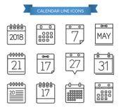 Línea iconos del calendario