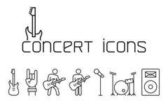 Línea iconos del concierto fijados en el fondo blanco stock de ilustración