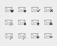 Línea iconos del correo electrónico del negro fijados Imagenes de archivo