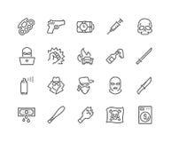 Línea iconos del crimen libre illustration