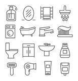 Línea iconos del cuarto de baño Imagenes de archivo