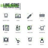 Línea iconos del cuidado dental stock de ilustración