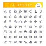 Línea iconos del cumpleaños fijados Imágenes de archivo libres de regalías