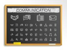 Línea iconos del dibujo de la mano de la comunicación ejemplo de la muestra del bosquejo de la tiza en la pizarra stock de ilustración