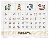 Línea iconos del dibujo de la mano de las flechas Imagen de archivo libre de regalías