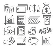 Línea iconos del dinero Imágenes de archivo libres de regalías