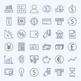 Línea iconos del dinero y de las actividades bancarias de las finanzas fijados Foto de archivo libre de regalías