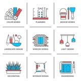 Línea iconos del diseño del interior y del paisaje fijados