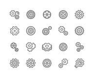 Línea iconos del engranaje