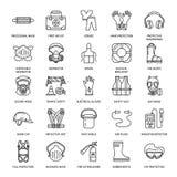 Línea iconos del equipo protector personal La careta antigás, la boya de anillo, el respirador, el casquillo del topetón, los aur libre illustration