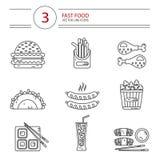 Línea iconos del estilo fijados de los alimentos de preparación rápida Imágenes de archivo libres de regalías