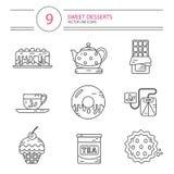 Línea iconos del estilo fijados de postres Fotografía de archivo libre de regalías