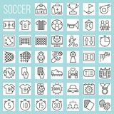 Línea iconos del fútbol fijados stock de ilustración