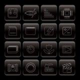 Línea iconos del funcionamiento de las cámaras digitales