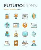 Línea iconos del futuro de la industria pesada stock de ilustración