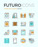 Línea iconos del futuro de los dispositivos stock de ilustración