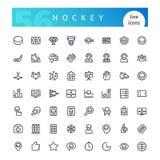 Línea iconos del hockey fijados Imagen de archivo libre de regalías