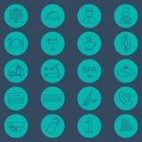 Línea iconos del hotel fijados Glyph del hotel Botón Vector Imagen de archivo