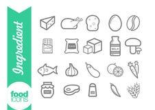 Línea iconos del ingrediente Imagen de archivo