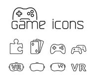 Línea iconos del juego fijados en el fondo blanco stock de ilustración