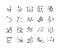 Línea iconos del mercado de acción ilustración del vector