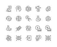 Línea iconos del movimiento del dinero ilustración del vector