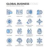 Línea iconos del negocio global stock de ilustración