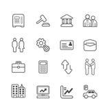 Línea iconos del negocio y de las finanzas fijados. Imagenes de archivo