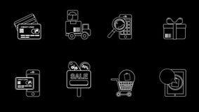 Línea iconos del negocio y de las ventas almacen de metraje de vídeo