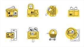 Línea iconos del negocio y de las ventas 4K Alpha Channel almacen de video