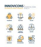Línea iconos del negocio y del fnance del diseño fijados Imagenes de archivo