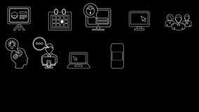 Línea iconos del negocio y del inicio metrajes