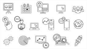 Línea iconos del negocio y del inicio 4K Alpha Channel almacen de video