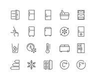 Línea iconos del refrigerador Fotografía de archivo libre de regalías