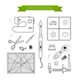 Línea iconos del remiendo fijados Fuentes e iconos de los accesorios que acolchan Colección del icono del esquema del vector Imágenes de archivo libres de regalías