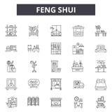 Línea iconos del shui de Feng para la web y el diseño móvil Muestras Editable del movimiento Ejemplos del concepto del esquema de ilustración del vector