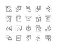 Línea iconos del terminal del quiosco Fotos de archivo libres de regalías