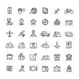 Línea iconos del turismo, del transporte y el viajar del vector libre illustration