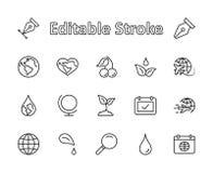 Línea iconos del vector del Día de la Tierra fijados Movimiento Editable pixel 32x32 perfecto stock de ilustración