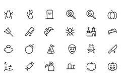Línea iconos 3 del vector de Halloween Foto de archivo libre de regalías