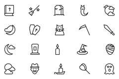 Línea iconos 5 del vector de Halloween Fotografía de archivo libre de regalías