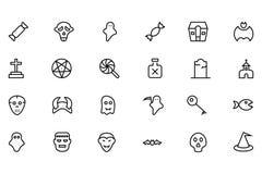 Línea iconos 4 del vector de Halloween Imagenes de archivo