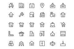 Línea iconos 3 del vector de la construcción Fotografía de archivo