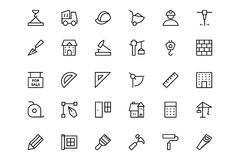 Línea iconos 1 del vector de la construcción Foto de archivo