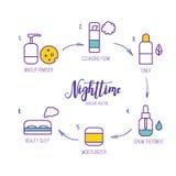 Línea iconos del vector de la rutina del skincare de la noche del arte ilustración del vector