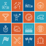 Línea iconos del vector de las carreras de coches Apresure la pista auto del campeonato, automóvil, corredor, casco, banderas de  Fotografía de archivo libre de regalías