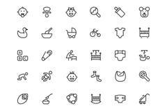 Línea iconos 1 del vector del bebé Fotos de archivo libres de regalías